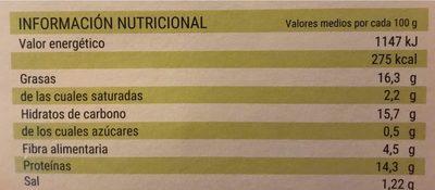 Mini hamburguesas Vegetales - Información nutricional - es
