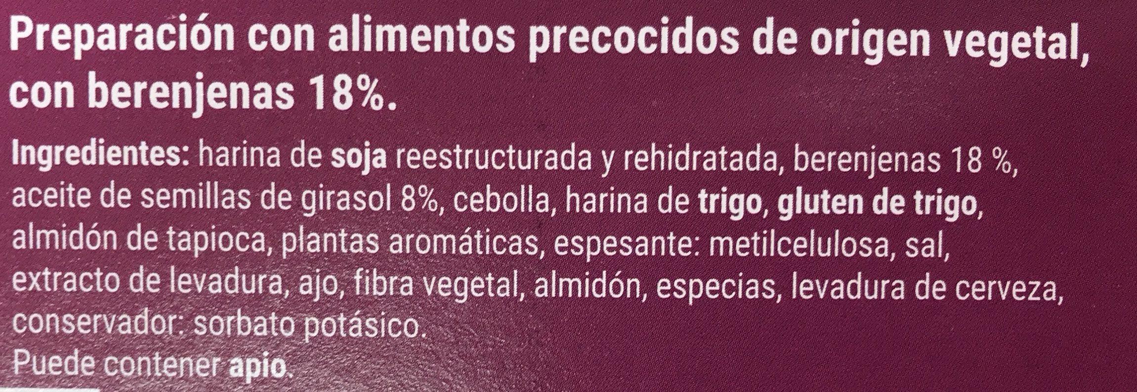 Hamburguesas vegetales con berenjenas - Ingredientes - es