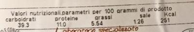 Cannellacci con zucca fresca - Nährwertangaben