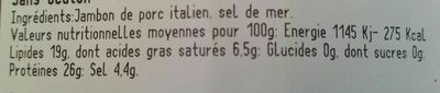 Jambon italien - Informations nutritionnelles - fr
