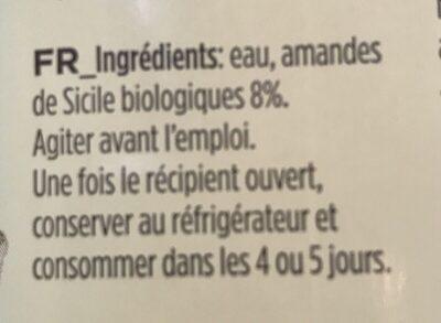 Latte di Mandorla - Ingrédients - fr