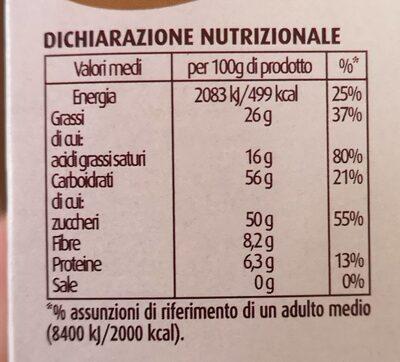 Gocce di cioccolato extra fondente - Informations nutritionnelles - it
