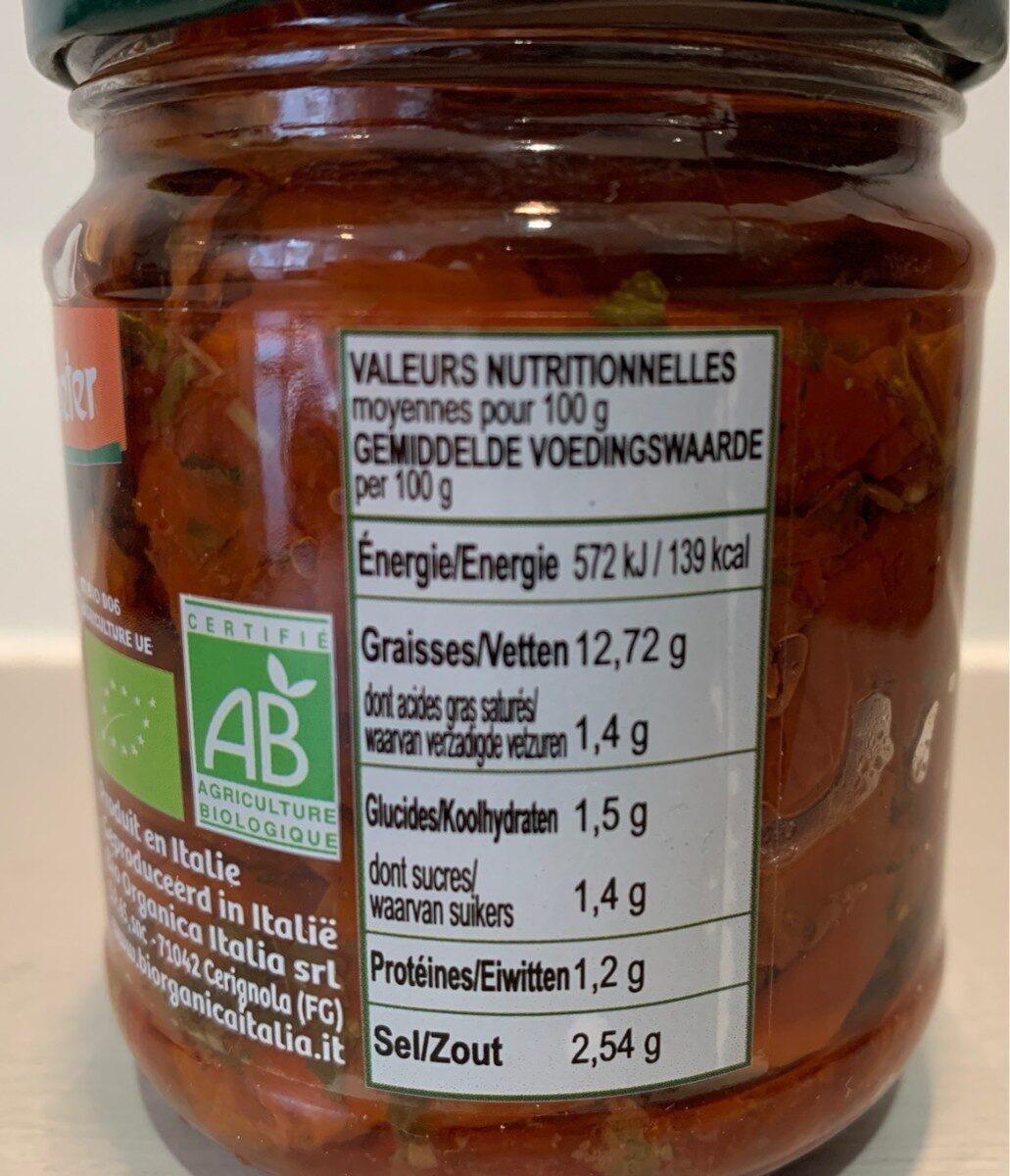 Tomates séchées - Informations nutritionnelles