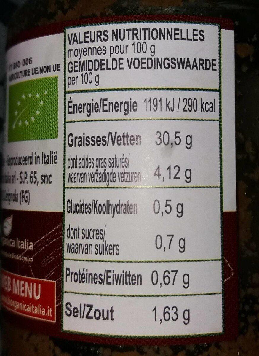 Biorganica Pesto aux Olives - Voedingswaarden