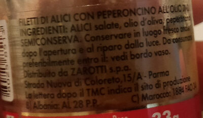 filetti di alici all'olio di oliva con peperoncino - Ingrédients - it