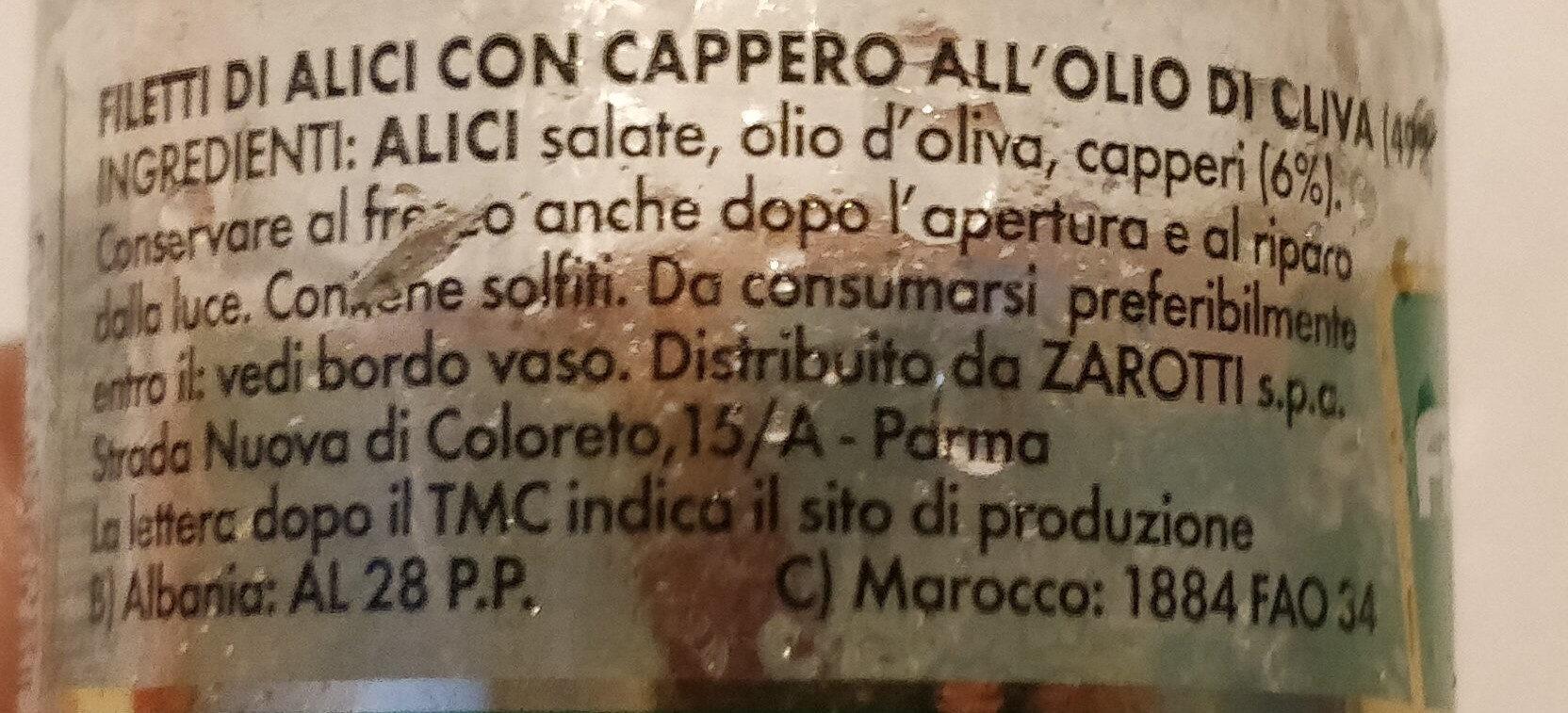 filetti di alici all'olio di oliva - Ingrédients - it