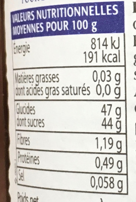 Confiture Amarene - Nutrition facts