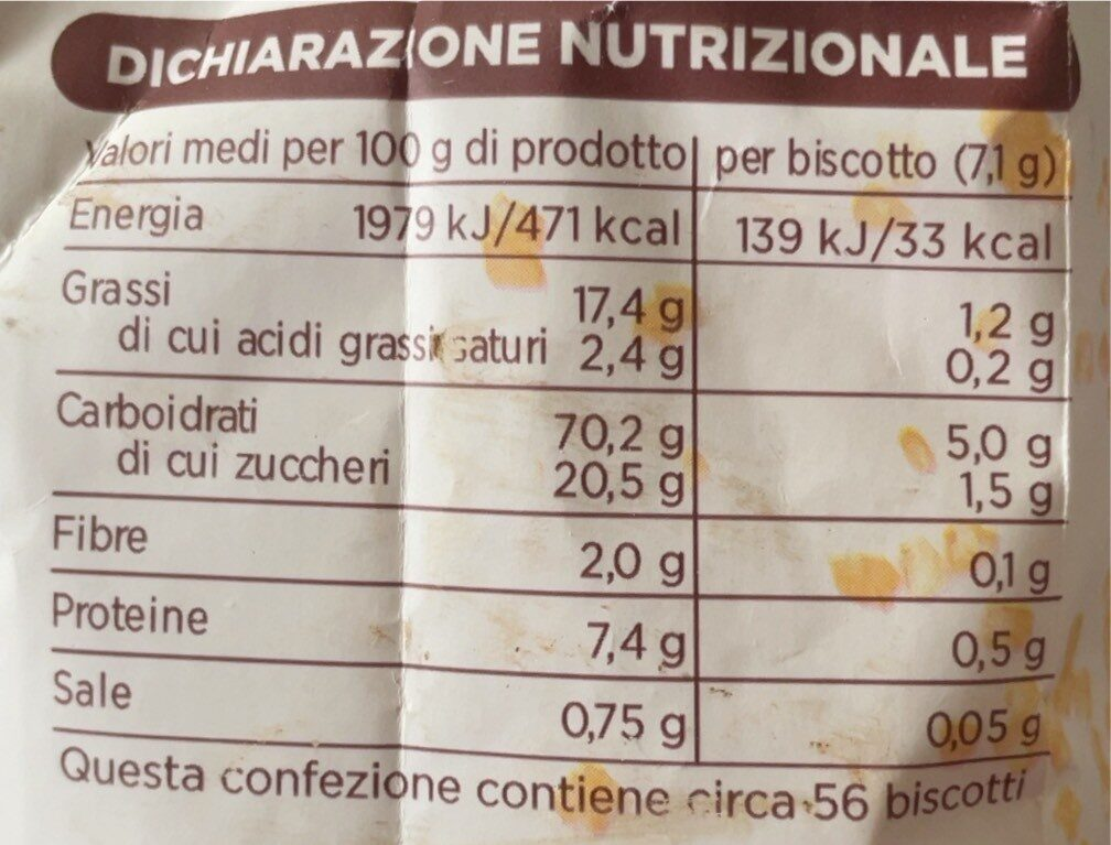 Frollini - Valori nutrizionali - it