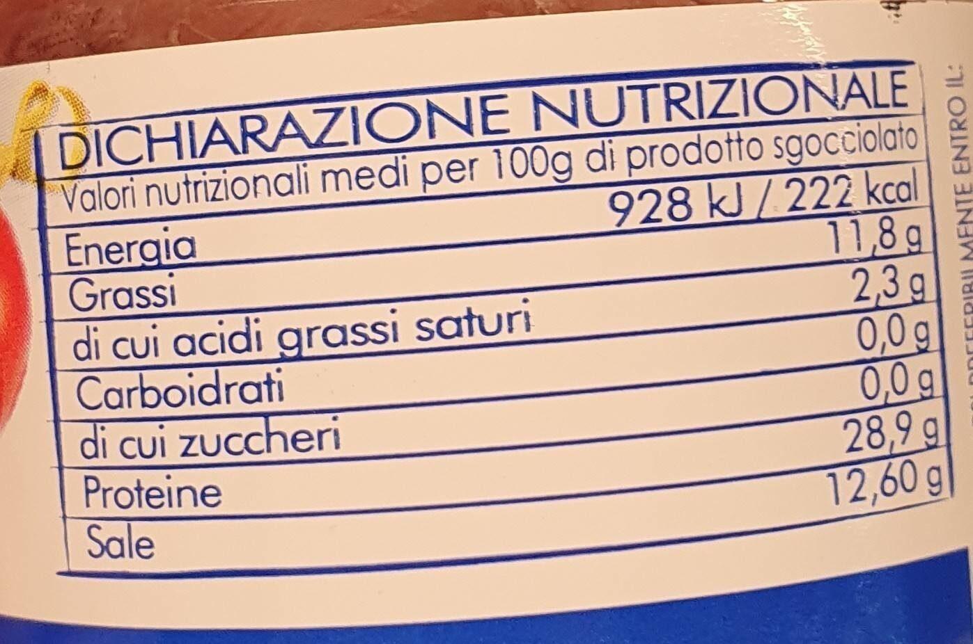 Filetti di alici - Valori nutrizionali - it