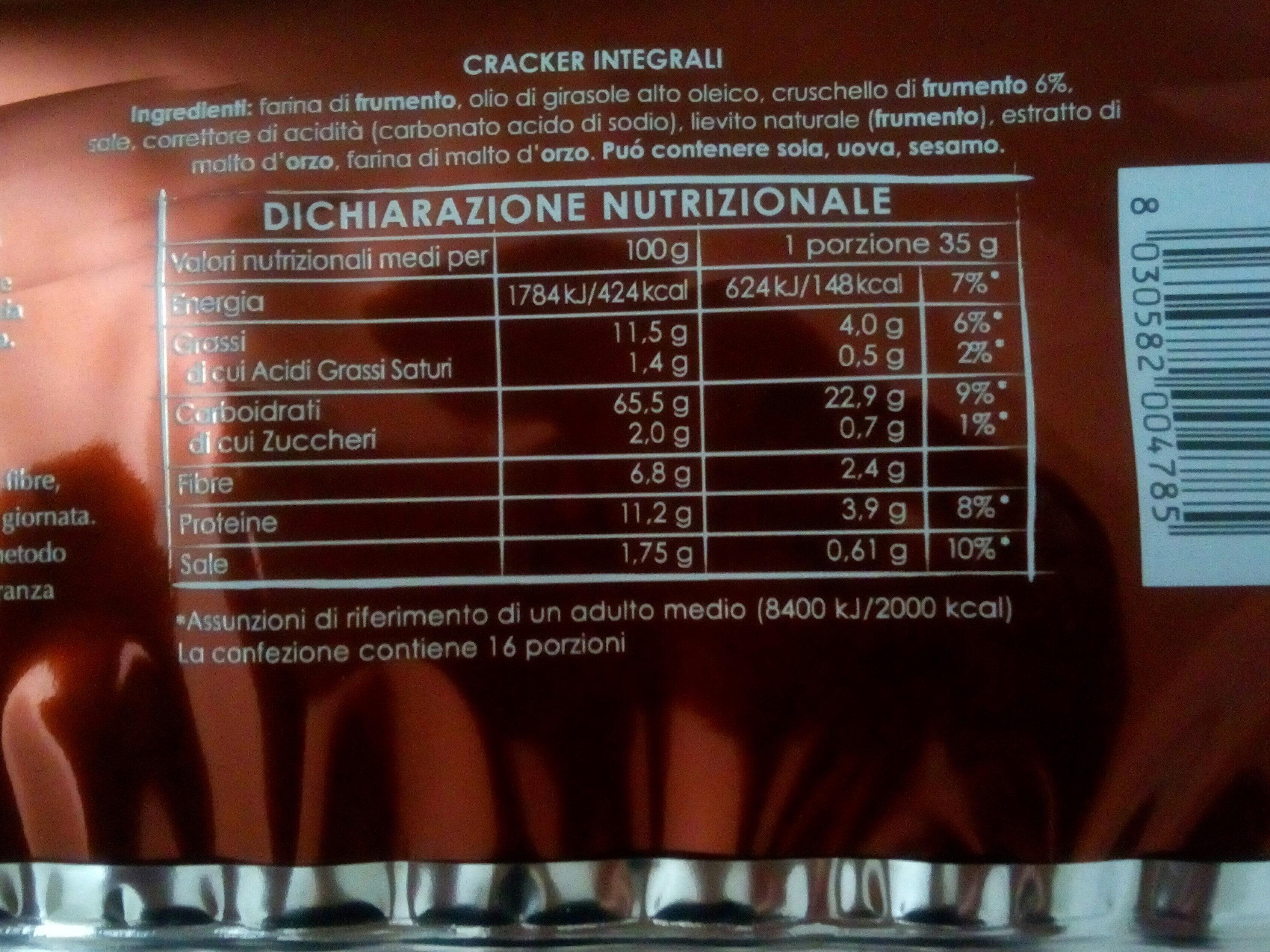 Cracker integrali - Nährwertangaben - it