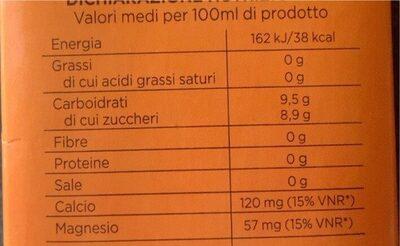Arancia con calcio e magnesio - Valori nutrizionali - it