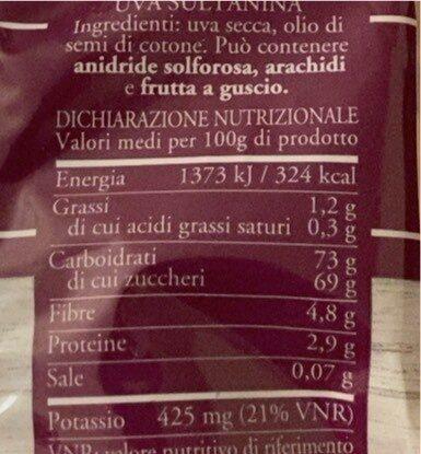Uva Sultanina essiccata - Informations nutritionnelles - it
