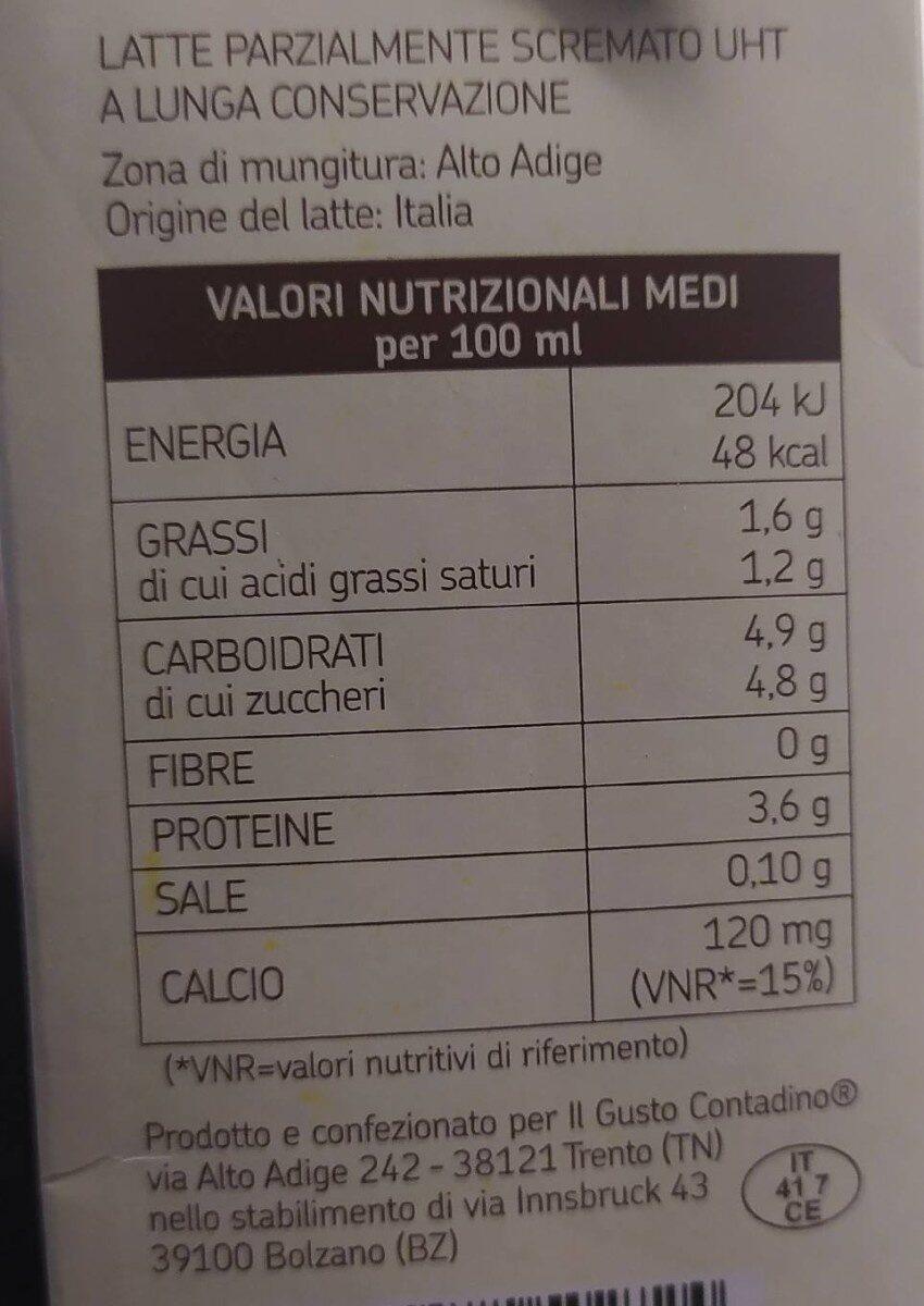 Il gusto contadino latte uht parzialmente scremato - Valori nutrizionali - it