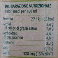latte microfiltrato intero biologico - Valori nutrizionali - it