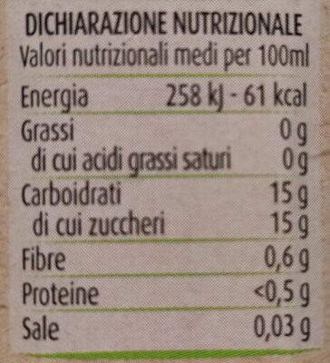 Nettare di albicocca - Valori nutrizionali - it