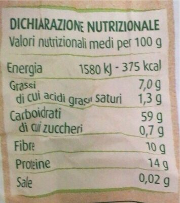 Fiocchi di avena integrale - Valori nutrizionali - it