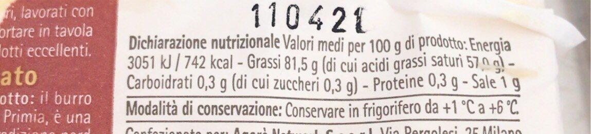 Burro salato - Valori nutrizionali - it