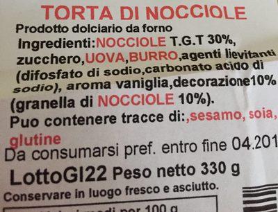 Torte Alfieri Tonda Farcita Nocciola Torta 330 Torte. pronte GR - Ingredients - fr