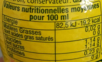 Jus de citron - Informations nutritionnelles - fr