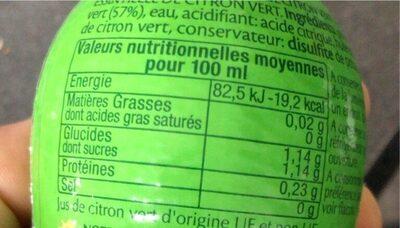 Pulco cuisine - citron vert - Informations nutritionnelles - fr