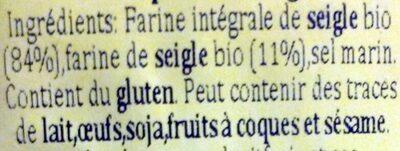 Crispbread integrale di segale - Ingredients - fr
