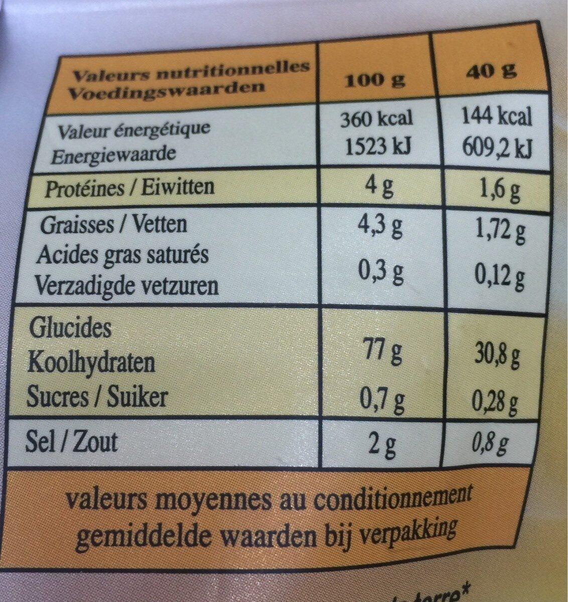 Les chips non frit - Informations nutritionnelles - fr