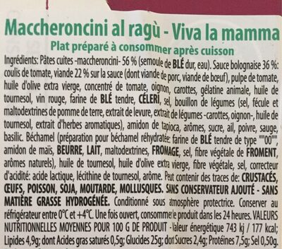 Maccheroncini al Ragu - Ingrédients - fr