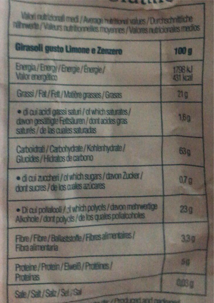 Girasoli al gusto limone e zenzero - Valori nutrizionali - it