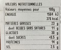 Piada Speck & Fromages - Nutrition facts - fr