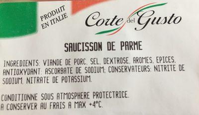 Saucisson de Parme - Ingredients