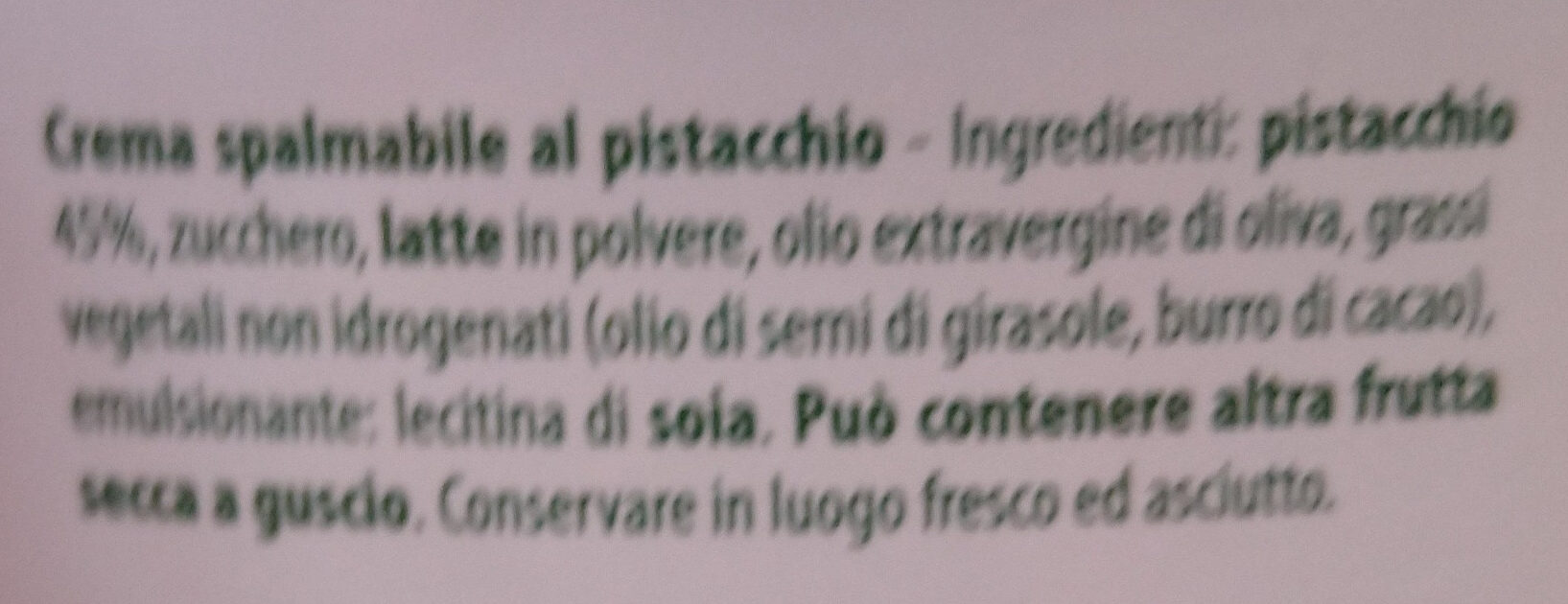 Crema spalmabile al pistacchio - Ingredienti - it