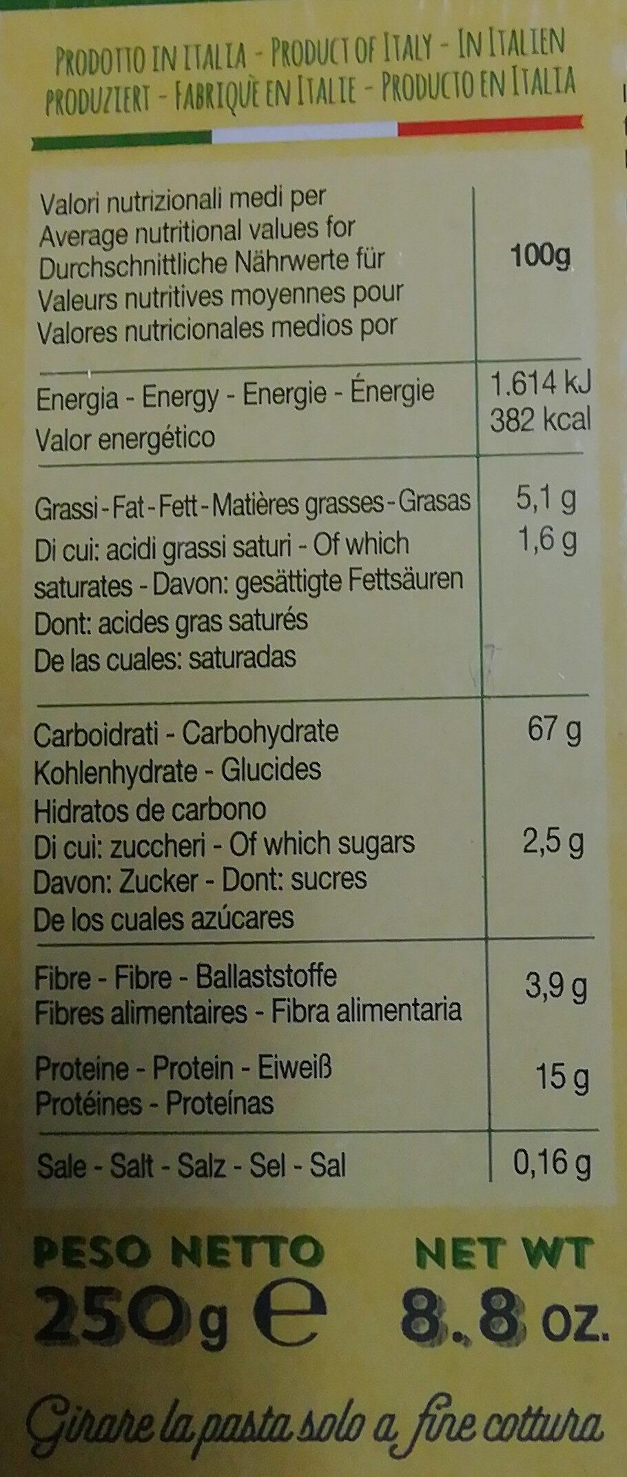 Pasta all'uovo Tagliatelline - Nutrition facts
