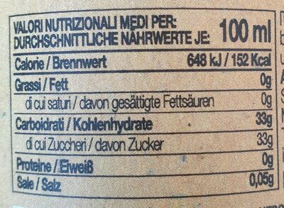 Vinaigre Balsamique 250ML Red 3 Ans Guerzoni - Voedingswaarden