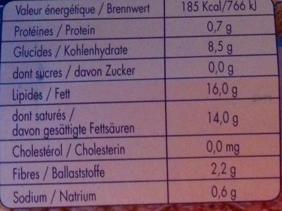MozzaRisella - Informació nutricional