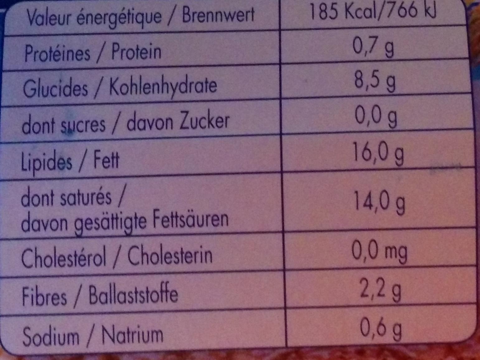 MozzaRisella - Informations nutritionnelles