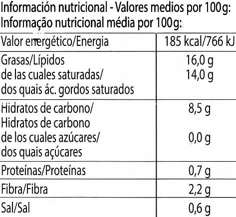 MozzaRisella - Información nutricional