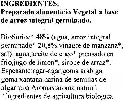 Vegetable cheese - Ingredientes