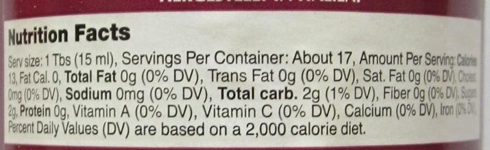 Balsamic vinegar of Modena, spray - Nutrition facts