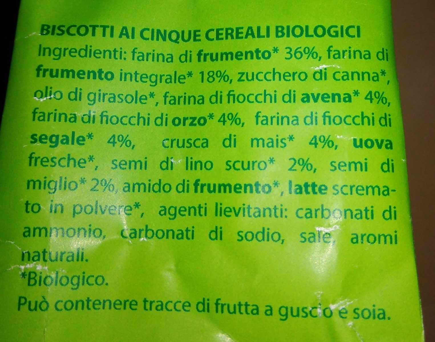 Biscotti con 5 cereali biologici - Ingredients - it