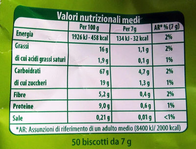 Biscotti con 5 cereali biologici - Nutrition facts - it