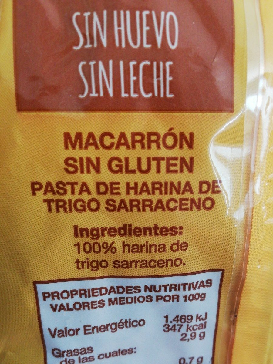 Macarrón De Trigo Sarraceno - Felicia - 250 G - Ingrédients