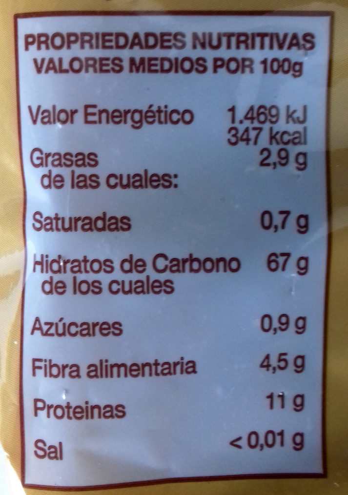 Macarrón De Trigo Sarraceno - Felicia - 250 G - Informations nutritionnelles