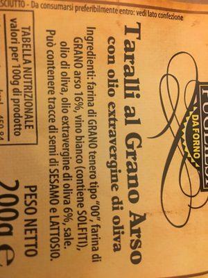 Taralli al grano arso - Ingredients - fr