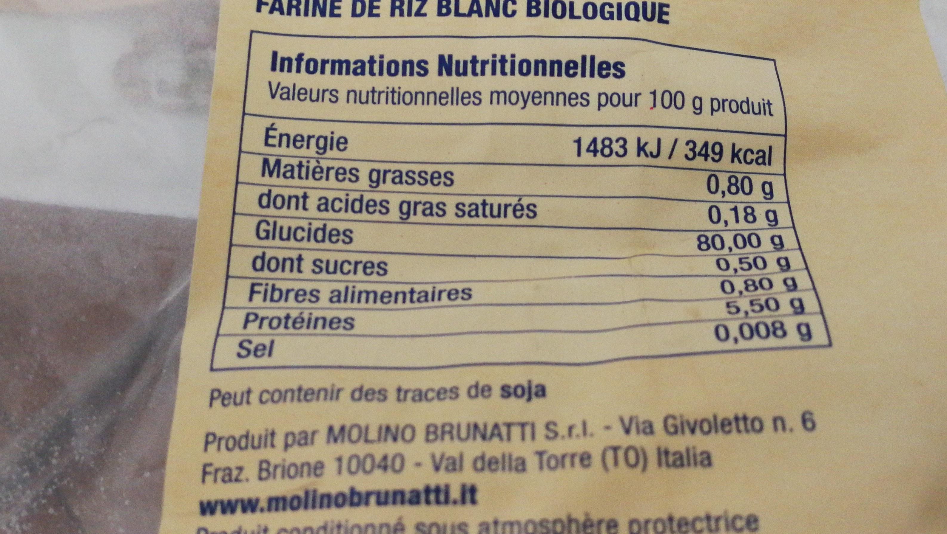 Farine riz blanc biologique - Ingrédients - fr