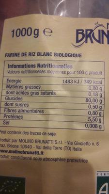 Farine riz blanc biologique - Informations nutritionnelles - fr