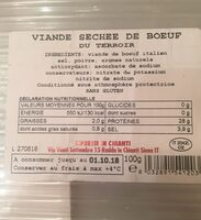 Bresaola nostrale - Informations nutritionnelles - fr