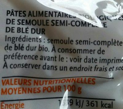 Petite coquillette semi-complete de blé dur - Ingredients