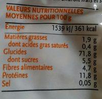Petite coquillette semi-complete de blé dur - Voedingswaarden