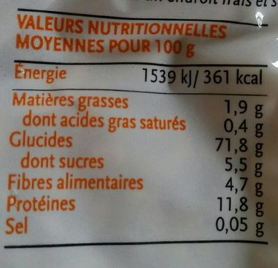 Petite coquillette semi-complete de blé dur - Nutrition facts