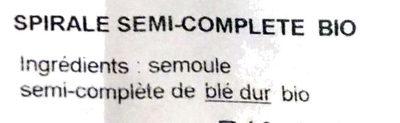 Spirale semi-complète bio - Ingrédients - fr